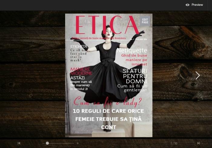 Revista ETICA prima revista de bune maniere din Romania