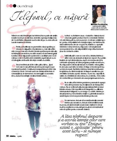 Revista Femeia Aprilie Telefonul cu masura